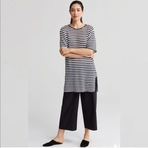 Eileen Fisher Linen Knit Stripe Round Neck Tunic